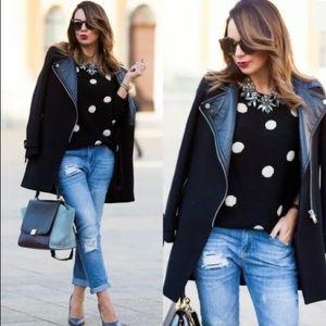 Zara Black Wool Jacket With Leather Lapels M